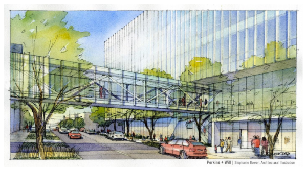 Sketch of the Swedish skybridge over Minor Avenue. (City of Seattle / Perkins + Will)