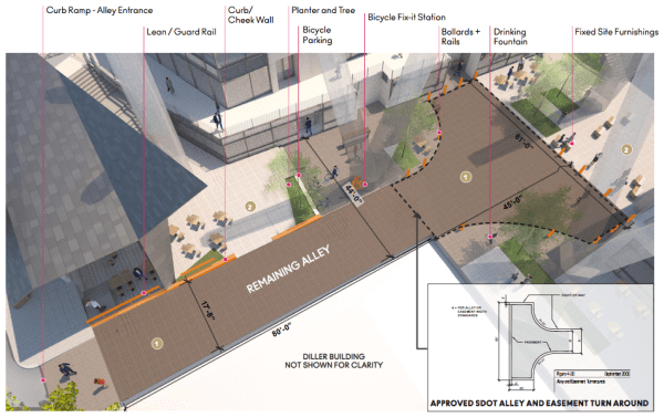Proposed design of the remaining alley. (City of Seattle / Pickard Chilton Architects)