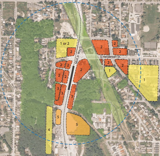 Location of proposed zoning changes. Yellow is Multifamily. red is Mixed-Use, and orange is Commercial.