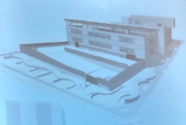 """Design for new North Precinct """"Motor Court"""" would include a fence. (City of Seattle)"""