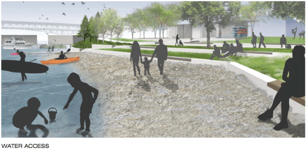 A rendering of beach and water access. (City of Seattle / Walker Macy)