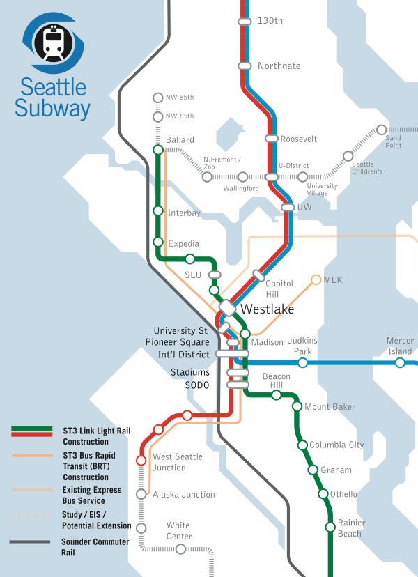 Dashed lines represent possible expansions. By Alaska Junction they meant Morgan Junction. (Seattle Subway)