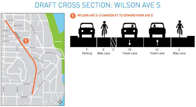 Draft cross section for the Wilson Ave S corridor. (City of Seattle)
