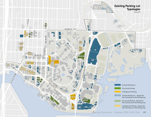 Existing parking facilities by type. (University of Washington)
