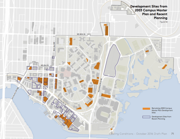 Potential development sites from old and new master plans. (University of Washington)