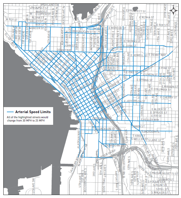 Changes (blue) to the arterial speed limits. (City of Seattle)