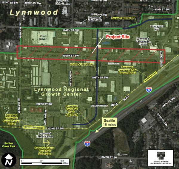 Project area and the regional growth center. (City of Lynnwood)