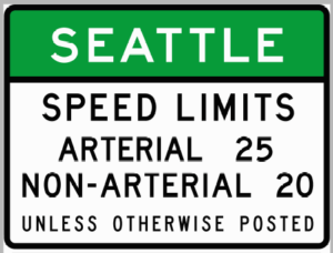 Speed limit sign at a gateway to Seattle. (City of Seattle)