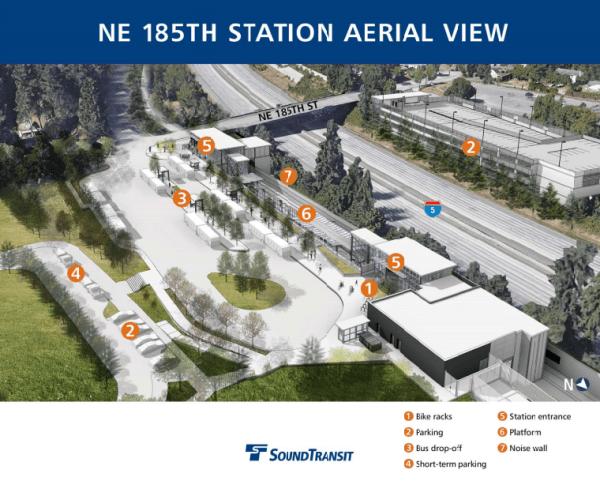 Aerial view of NE 185th St Station. (Sound Transit)