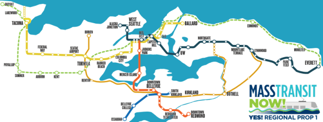 A spin on the Sound Transit system under ST3. West is upward facing instead of north. (Mass Transit Now)