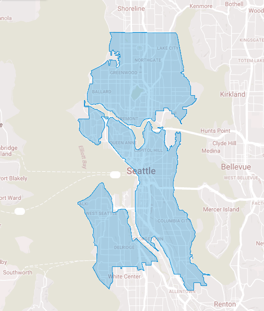 The blue areas represent Reachnow's new Seattle home area. (Reachnow)