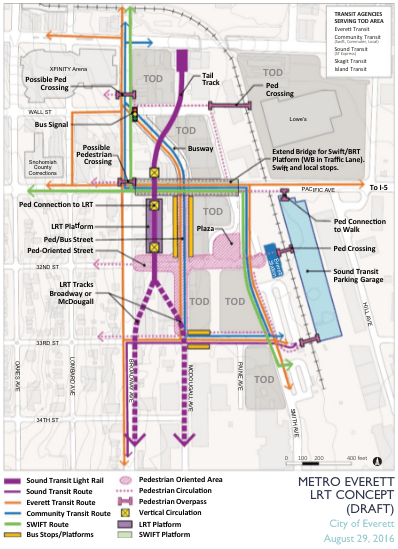 Concept map for a Broadway light rail station, busway, mixed-mode bridge, TOD, and pedestrian activity. (City of Everett)