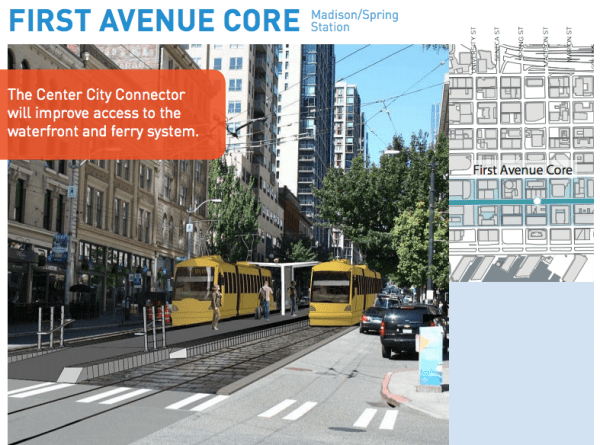 Note the separation of the general purpose lane from the streetcar tracks. (City of Seattle)
