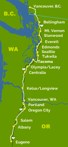 Amtrak Cascades currently makes the following stops. High speed service might reduce the number of stops.