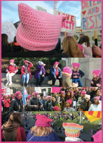 Pink hats worn proudly by many marchers on Saturday.