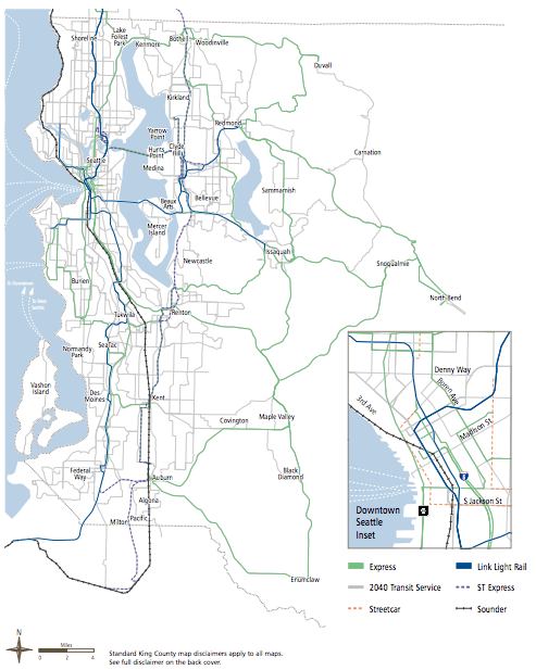 Plan for future express bus corridors. (King County)