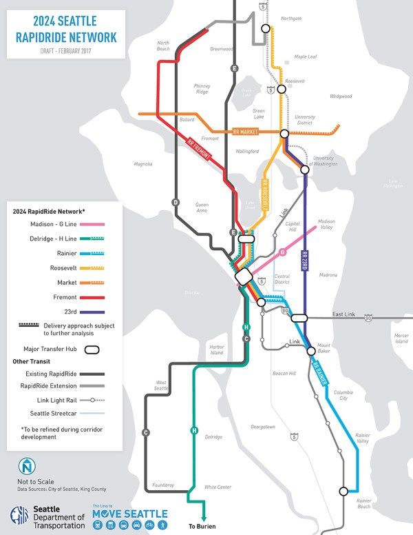 Schematic of the 2024 RapidRide network in Seattle. (City of Seattle)