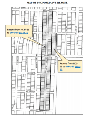 The proposed rezone to SM-U 75 was excluded on The Ave earlier this year, pending a study on local businesses. (City of Seattle)