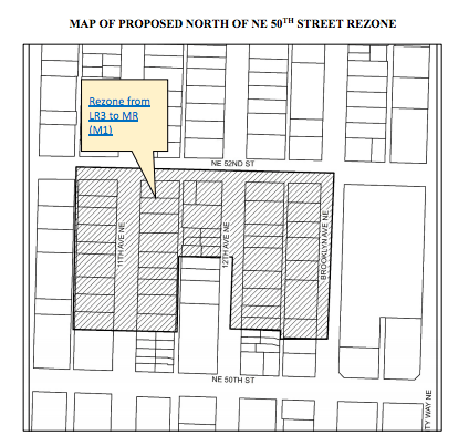 Proposed rezones to MR (M1) north of NE 50th St. (City of Seattle)