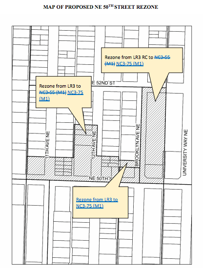 Proposed rezones to NC3-75 (M1) north of NE 50th St. (City of Seattle)