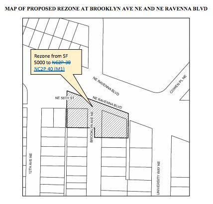 Proposed rezone on NE Ravenna Blvd and Brooklyn Ave NE. (City of Seattle)