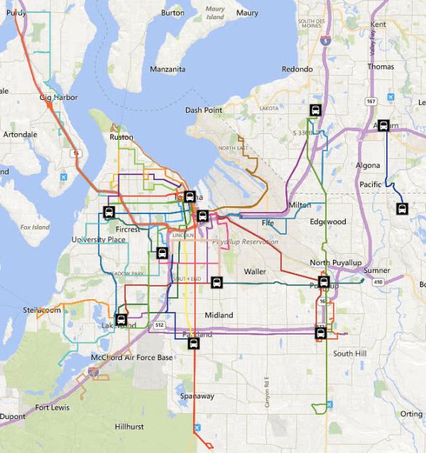 Restructured Pierce Transit system effective after the March service change. (Pierce Transit)