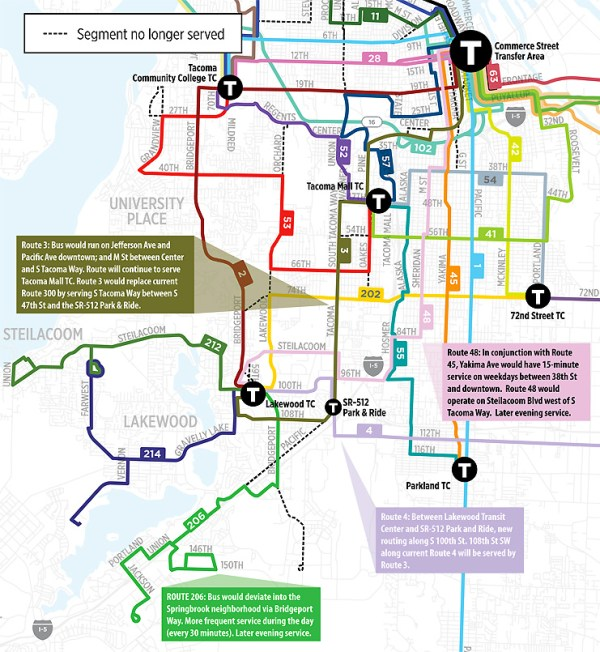 Highlighted changes in Lakewood. (Pierce Transit)