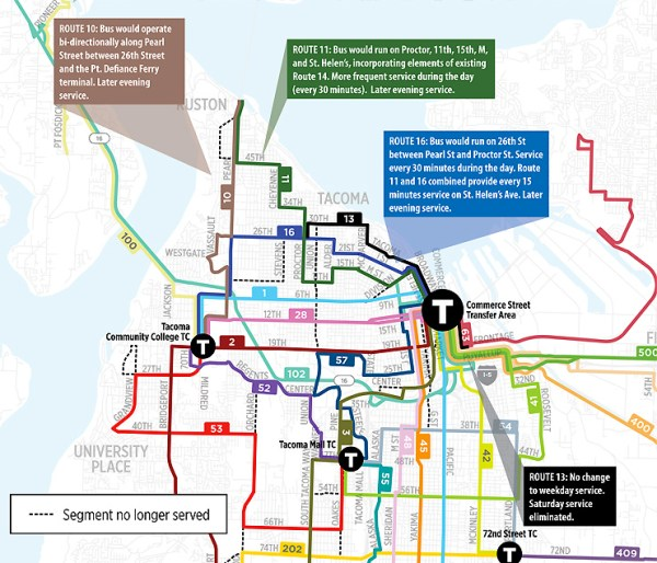 Highlighted changes in North Tacoma. (Pierce Transit)