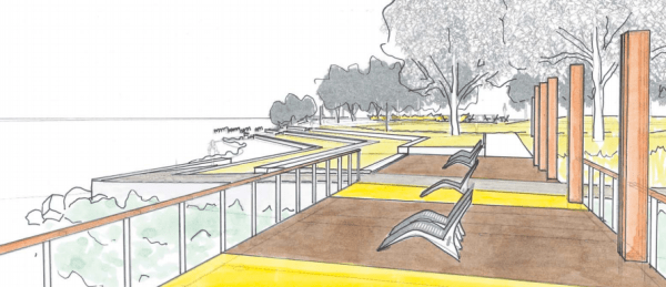 Sketch of the main pier looking back up the hill. (Walker/Macy / City of Seattle)