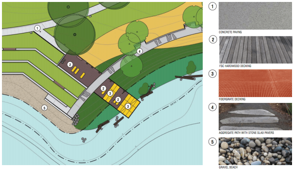Materials proposed for the main pier and nearby spaces. (Walker/Macy / City of Seattle)