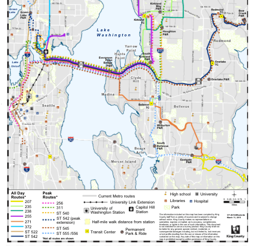 Original Alternative 1 bus restructure for Link Connections in 2015. (King County)
