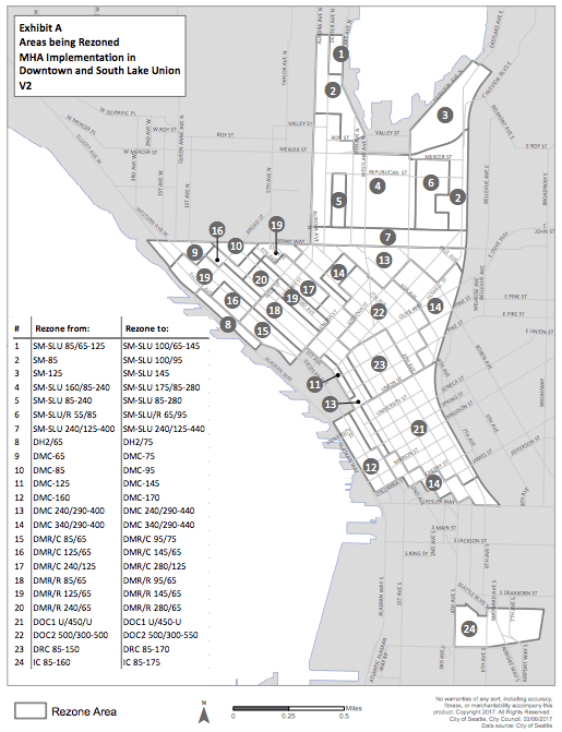 Areas proposed for rezoning in Downtown and South Lake Union. (City of Seattle)