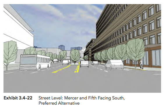 View from street level at 5th Ave S and Mercer Street. (Hewitt Architecture / City of Seattle)