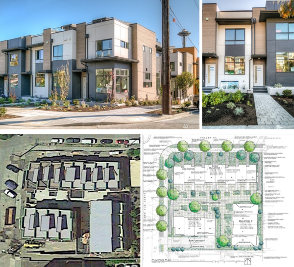 Live-work and regular townhouse units in Seattle's Lower Queen Anne neighborhood. (Landscape plan courtesy of David Vandervort Architects)
