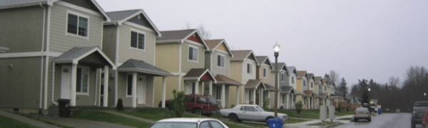 The image features monotonous setbacks and building forms. While some variety of color and porch roof forms are included, it still comes across as excessively monotonous.