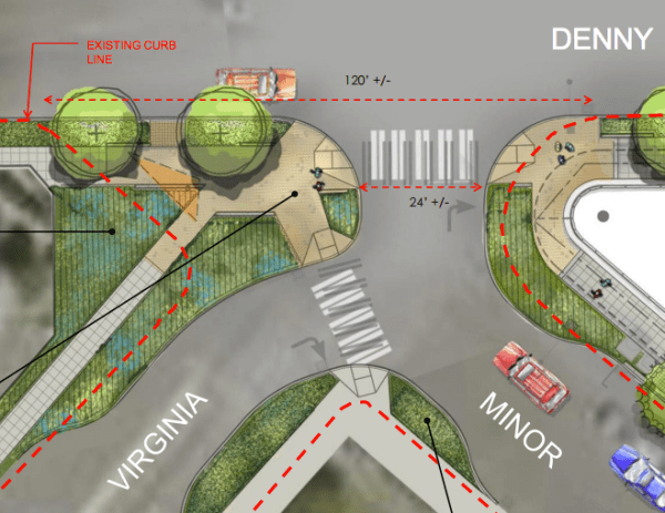 The developer's streetscape plan for the intersection of Denny, Minor, and Virginia. (City of Seattle)