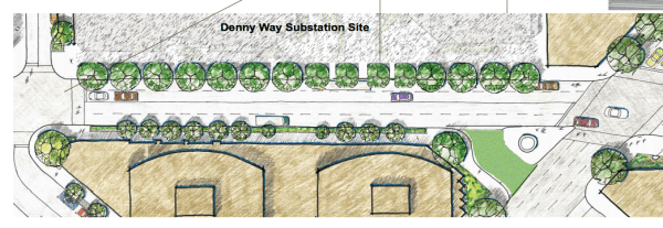 Area around 1200 Stewart from the Denny Way Streetscape Plan. (City of Seattle)