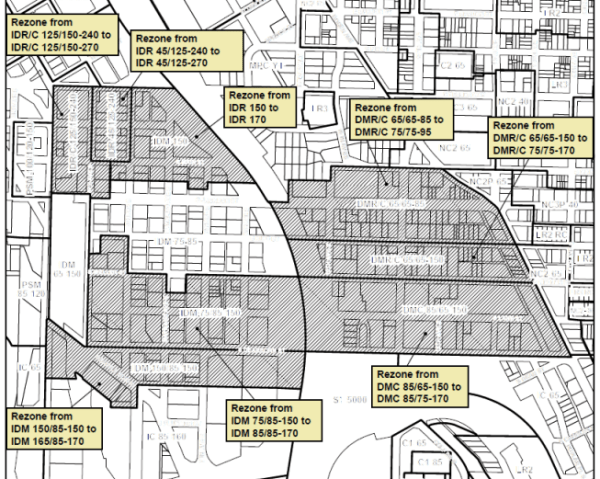 Proposed rezones in the Chinatown-International District neighborhood. (City of Seattle)