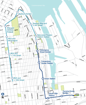 Proposed Tacoma Link extension and stations. (Sound Transit)