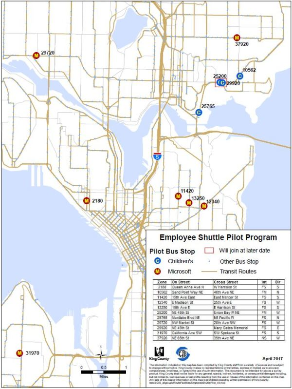 Locations of the bus stops being used by private shuttles in the pilot program. (City of Seattle)
