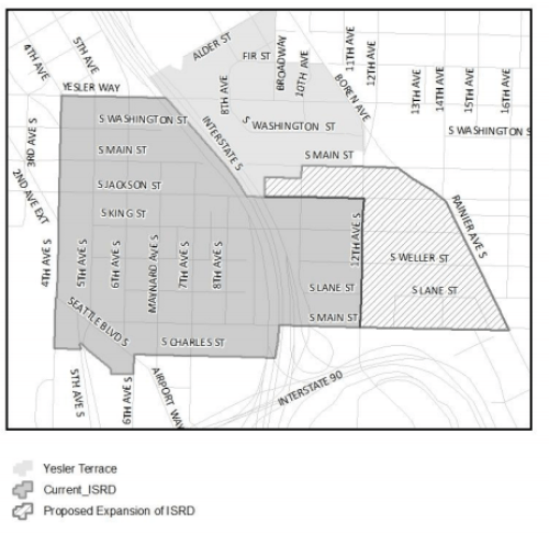 Composite map of current and proposed bounds of the ISRD. (City of Seattle)