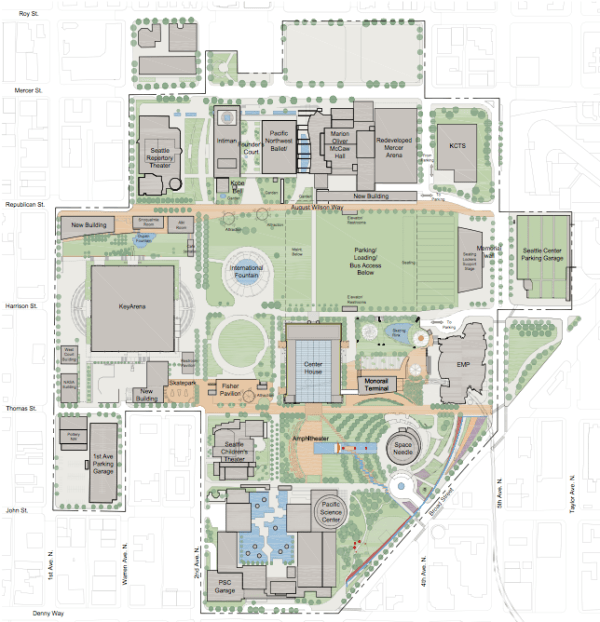 A schematic of the comprehensive master plan for the Seattle Center campus and district from 2008; note that there is no explicit mention of a school. (City of Seattle)