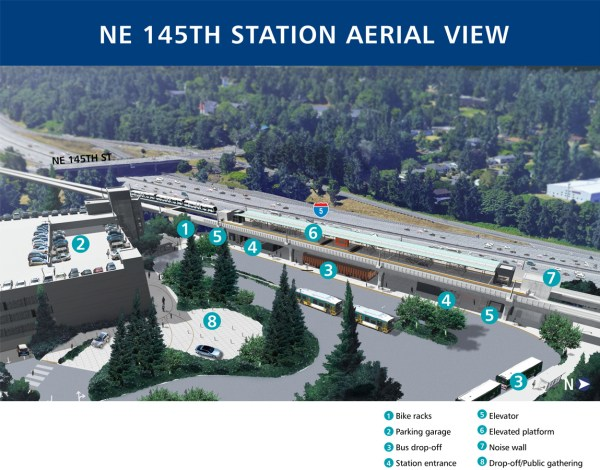 Aerial rendering of 145th Street Station. (Sound Transit)