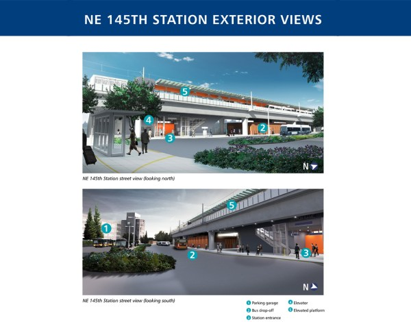Rendering of the exterior of 145th Street Station. (Sound Transit)