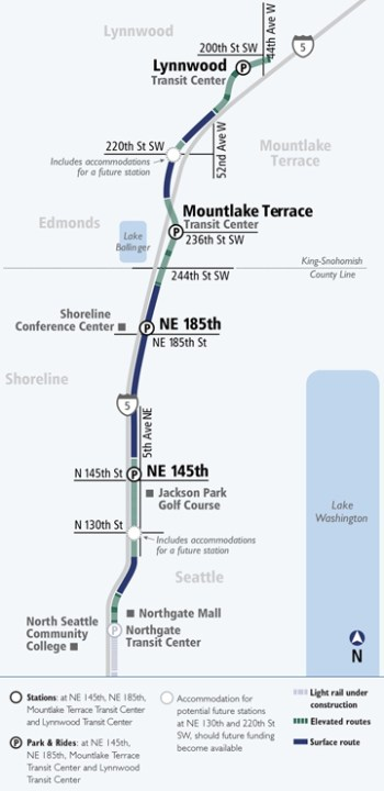 Lynnwood Link stations to be built in the extension as well as future infill stations. (Sound Transit)