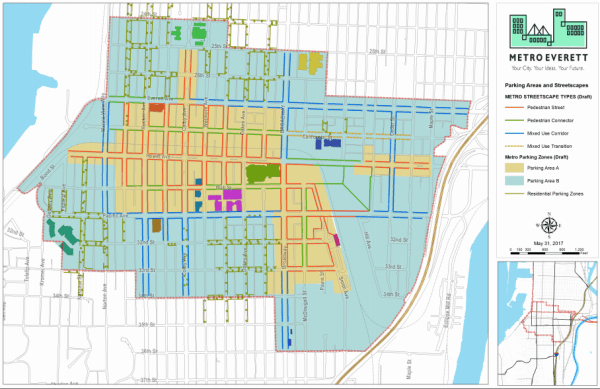 Map of proposed parking areas and streetscape destinations within Metro Everett. (City of Everett)