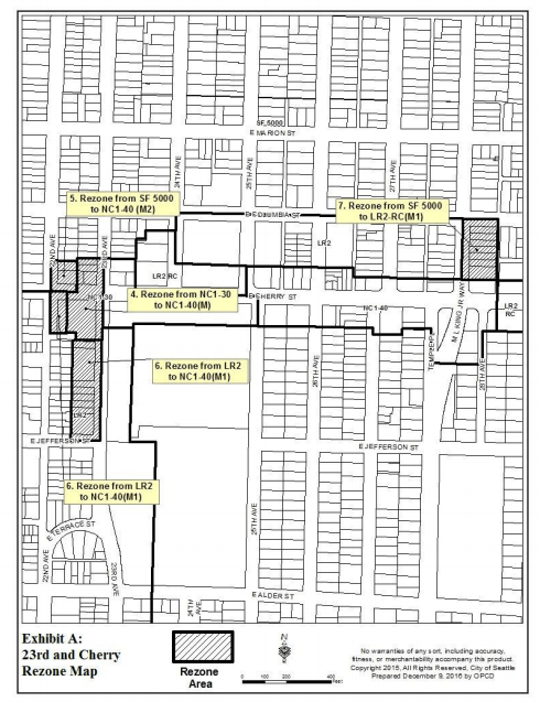 Proposed rezones within the 23rd and Cherry node. (City of Seattle)