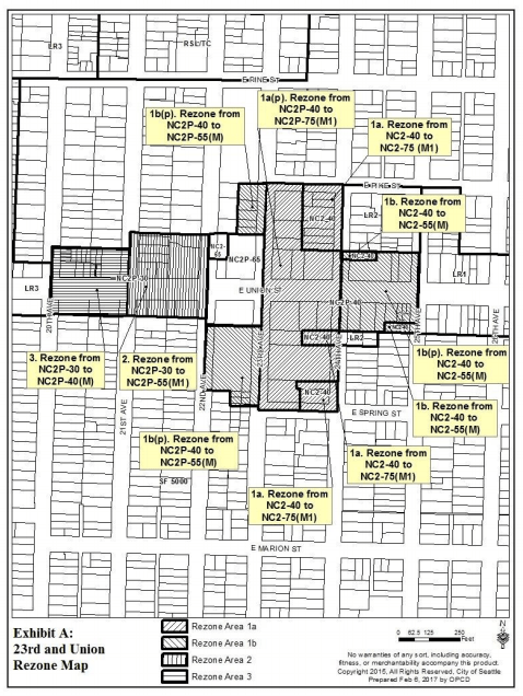 Proposed rezones within the 23rd and Union node. (City of Seattle)