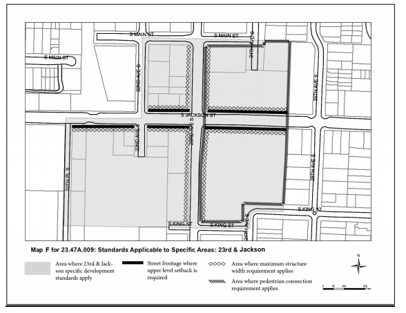 Map of the locations and types of special urban design standards that would apply in the 23rd and Jackson node. (City of Seattle)