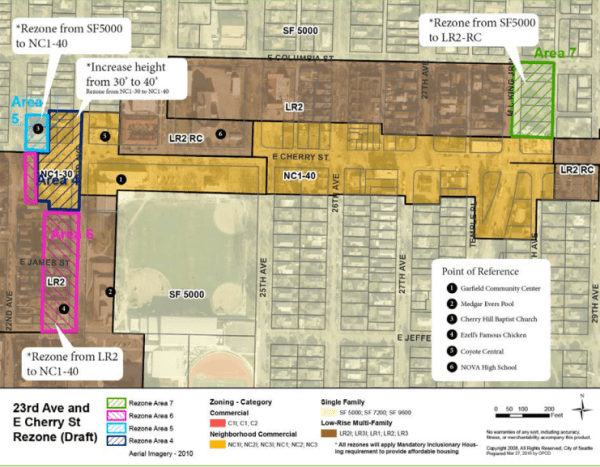 Original urban design framework map for draft rezones for the 23rd and Cherry node. (City of Seattle)